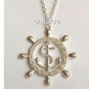 """Jewelry - Silver Anchor Wheel Nautical Necklace 24"""" PlusSize"""